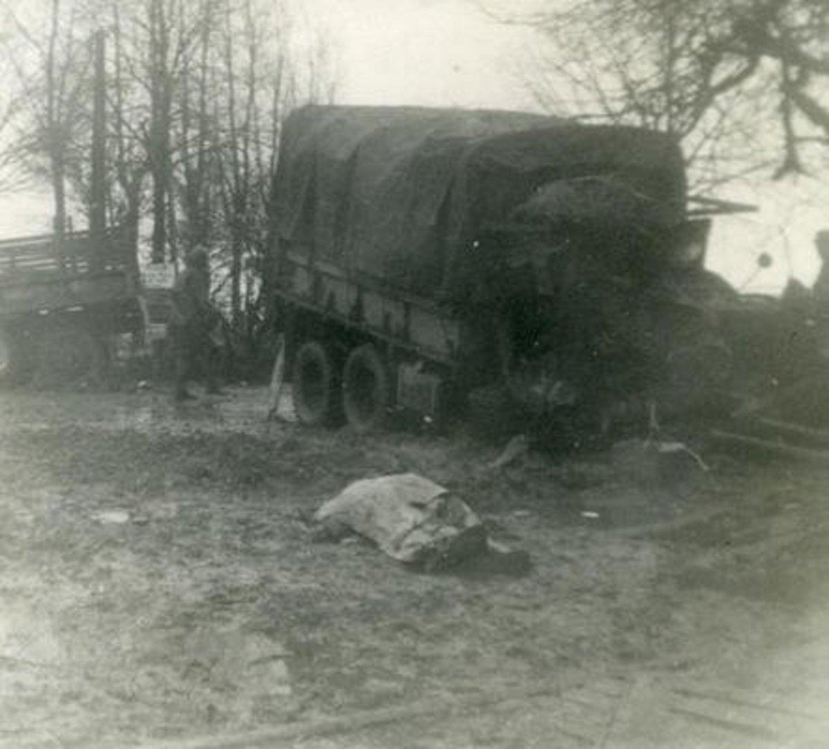 No matter what your job, it was dangerous - Artillery battalion mess sergeant lies dead after a German barrage, April 1945.
