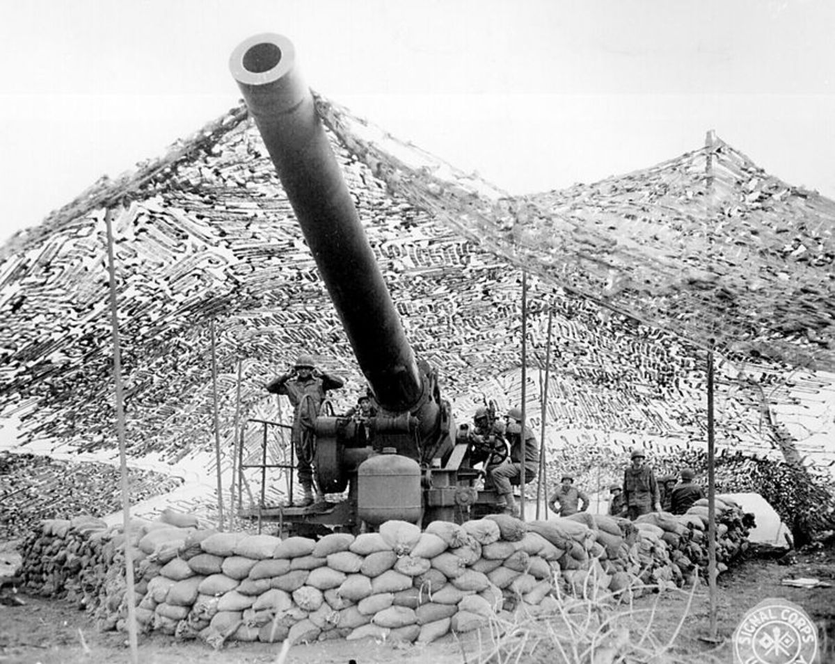240mm howitzer preparing to fire, January 1944. This was the largest field gun in the U.S. inventory during the War.
