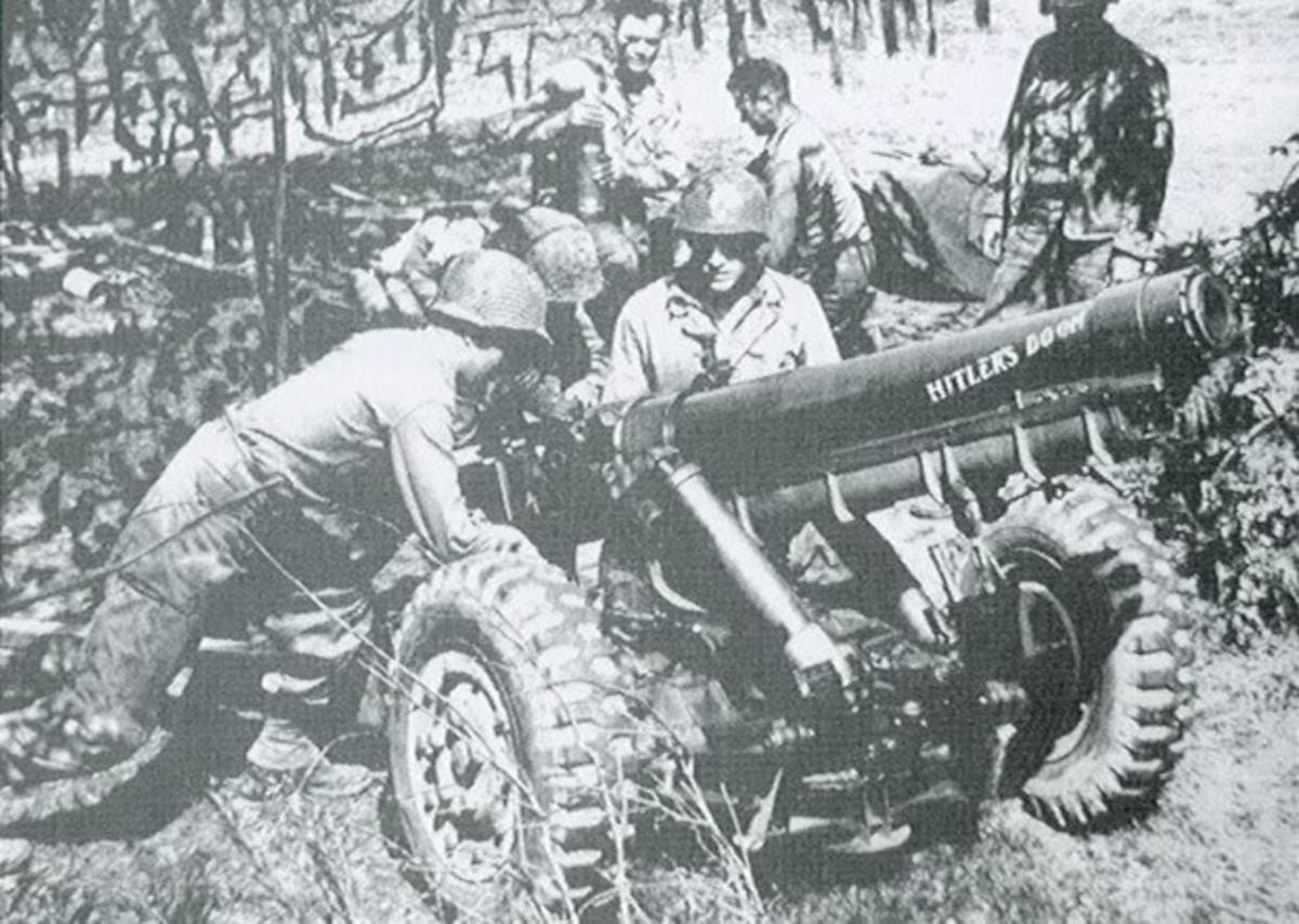 The 105mm M3 is seen above in France, 1944.  This smaller version of the 105mm howitzer replaced the 75mm gun in Army airborne units and cannon companies.