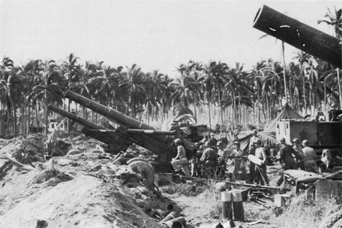 8 inch howitzer battery, Philippines, 1944.