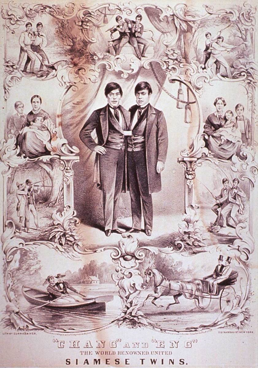 """Currier and Ives lithograph dated 1860 which depicts """"The World Renowned United Siamese Twins"""" Chang and Eng Bunker."""
