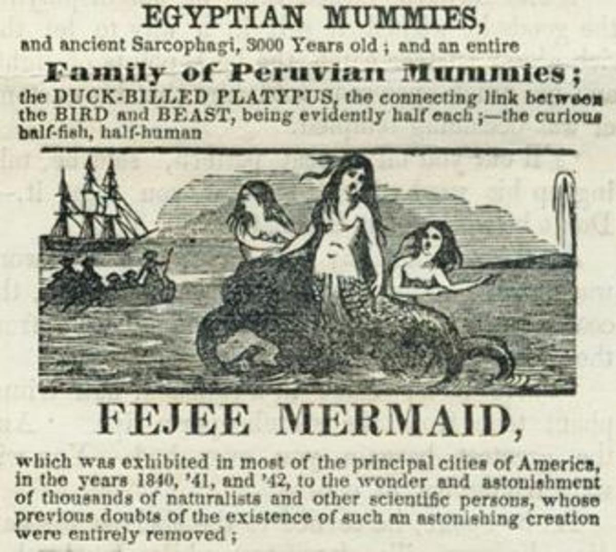 "An advert for P.T. Barnum's ""Feejee Mermaid"" in 1842 or thereabout."