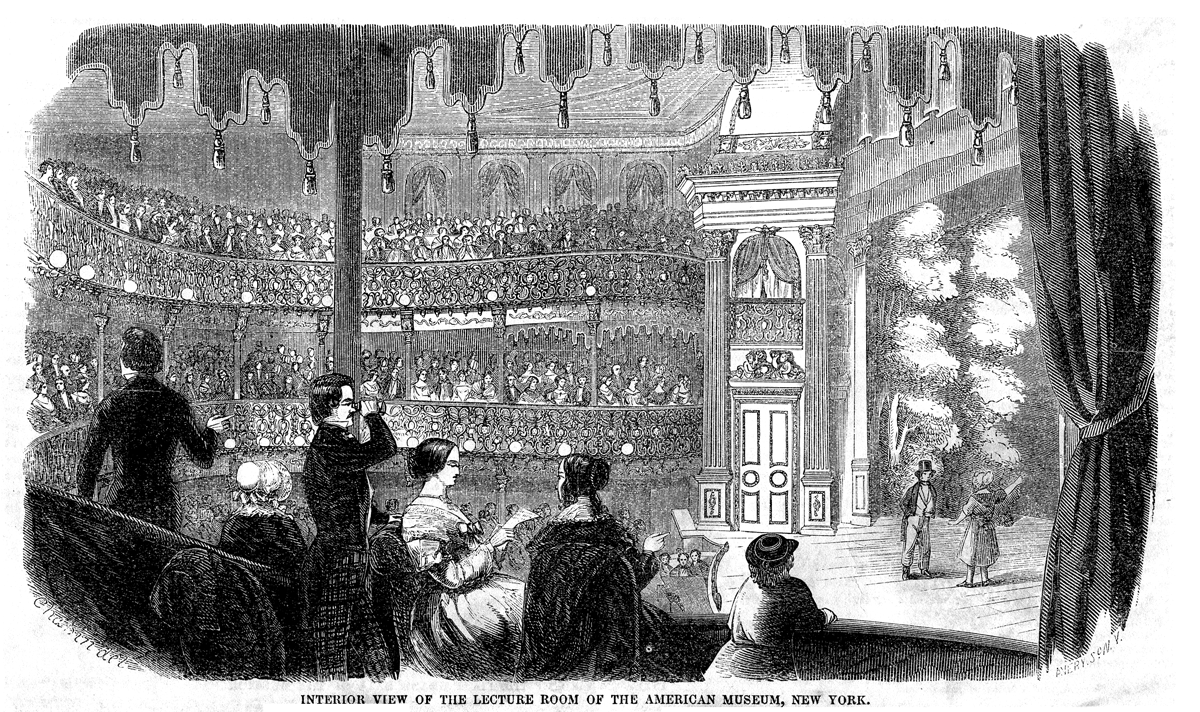 """From Gleason's Pictorial Drawing-Room Companion, 22 January 1853, p. 73. Picture depicts the """"Lecture Room"""" of the American Museum of New York, built by P. T. Barnum, and eventually more popularly knows as Barnum's American Museum."""
