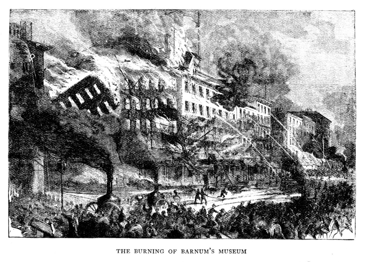 Burning of Barnum's Museum in 1865.
