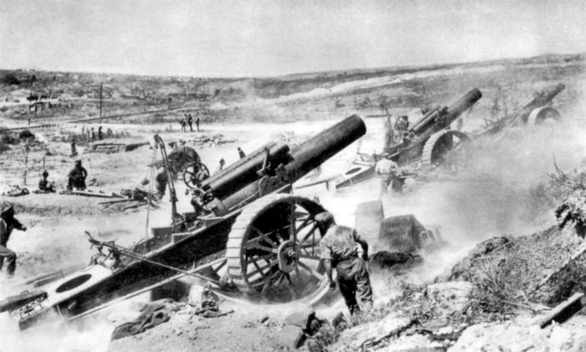 British 8 inch howitzers, which fired more than a million shells at the German Front Line on the first day of the battle alone.