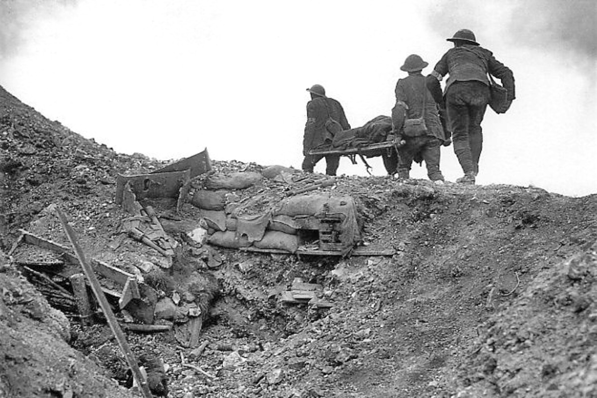 Stretcher bearers recovering a wounded soldier in late September 1916- the final phase of the battle.