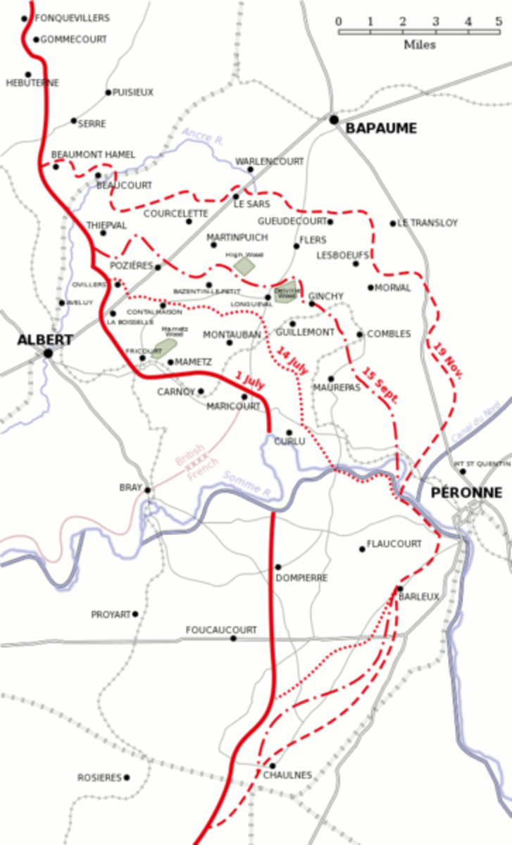 A map of the Somme battlefield showing the progression of the battle from July-November 1916.