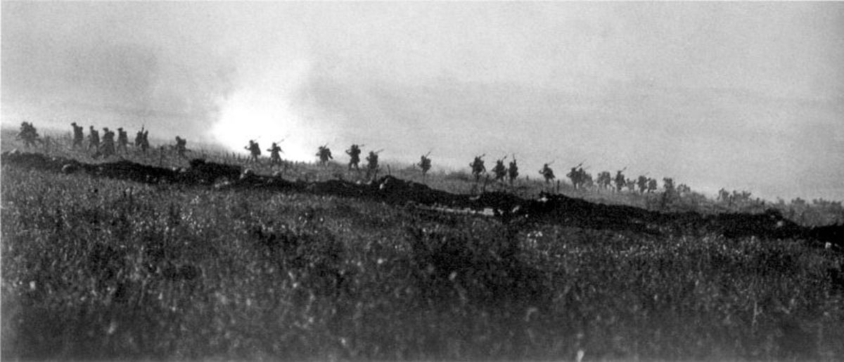The Tyneside Irish Brigade advancing on the first day of the battle.