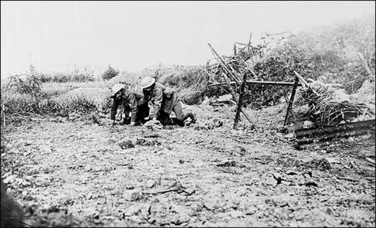 A wounded man from the Newfoundland Regiment is led away from the field by a comrade on the first day of the Somme.