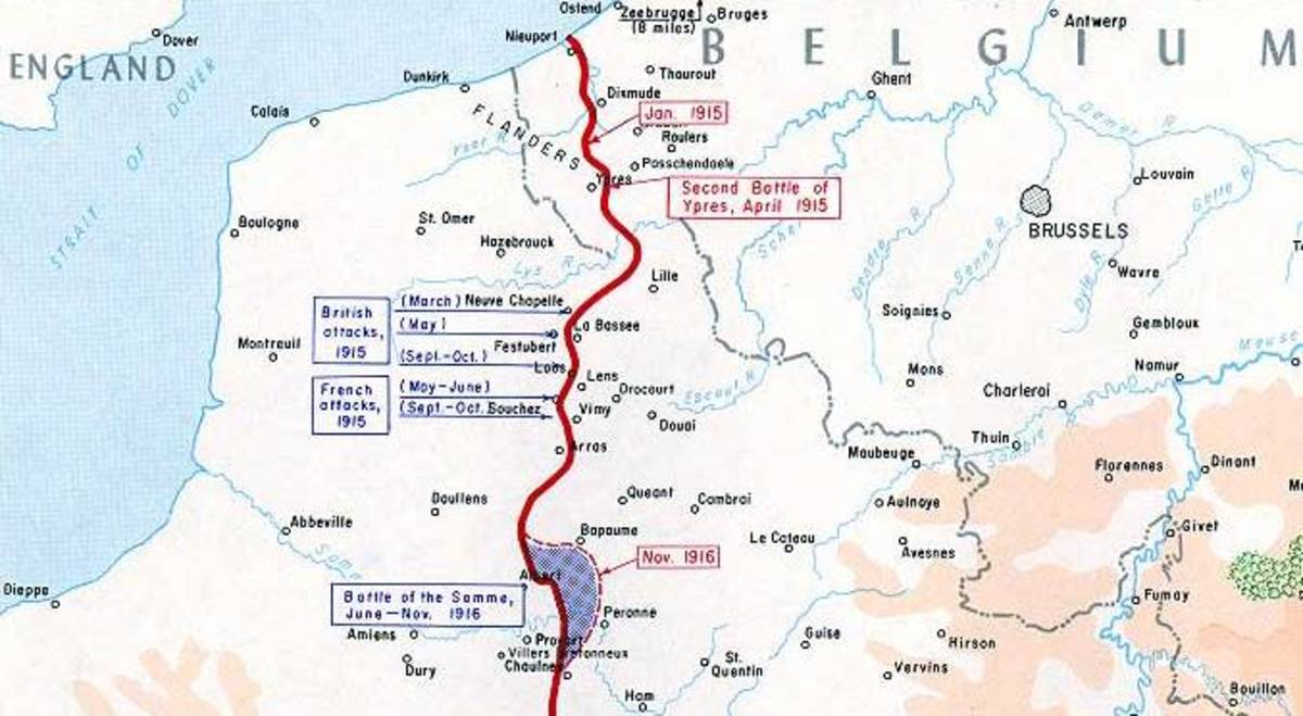 A map of the Western Front in 1915/1916.