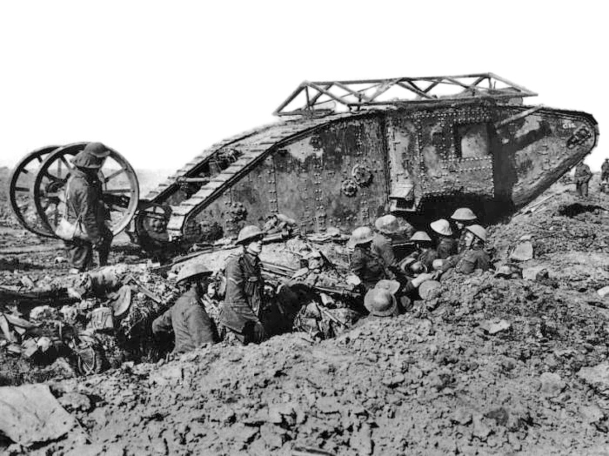 A British Mark I 'male' tank, which made its debut in the battle in late September 1916.