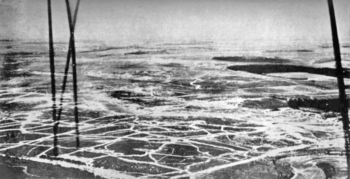 An aerial photo of the battlefield taken in early July 1916 from a British barrage balloon.