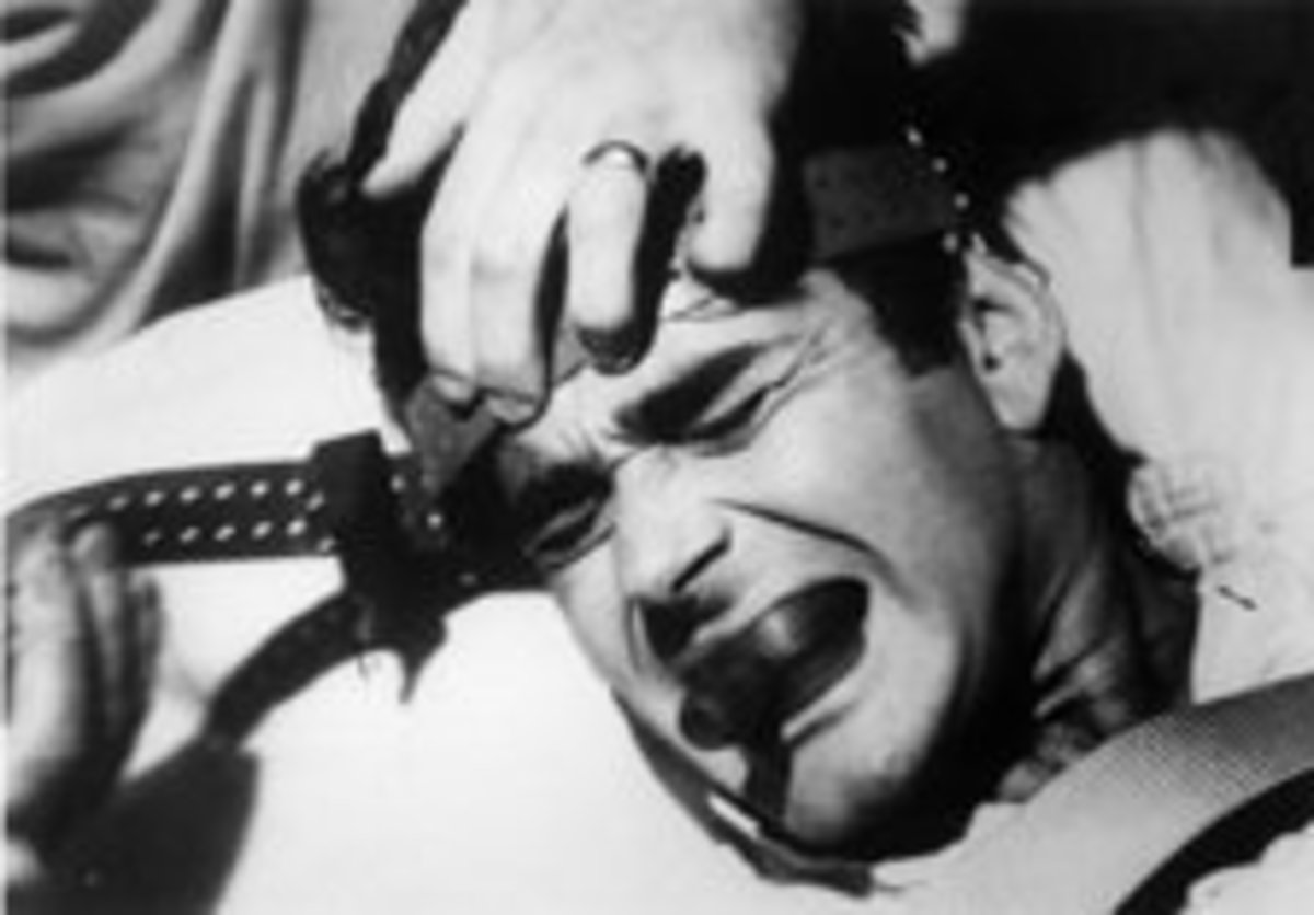 "This man undergoes ""electric shock therapy"" which was used historically on both mental patients and gay people."