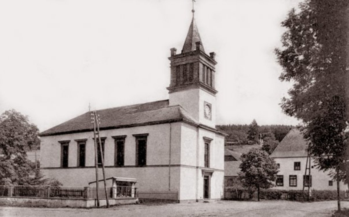 The original Church of St. George, Village of Schonberg.  Eric Wood and his convoy passed by here just before crossing the bridge.  The photo would have been taken in front of the bridge.