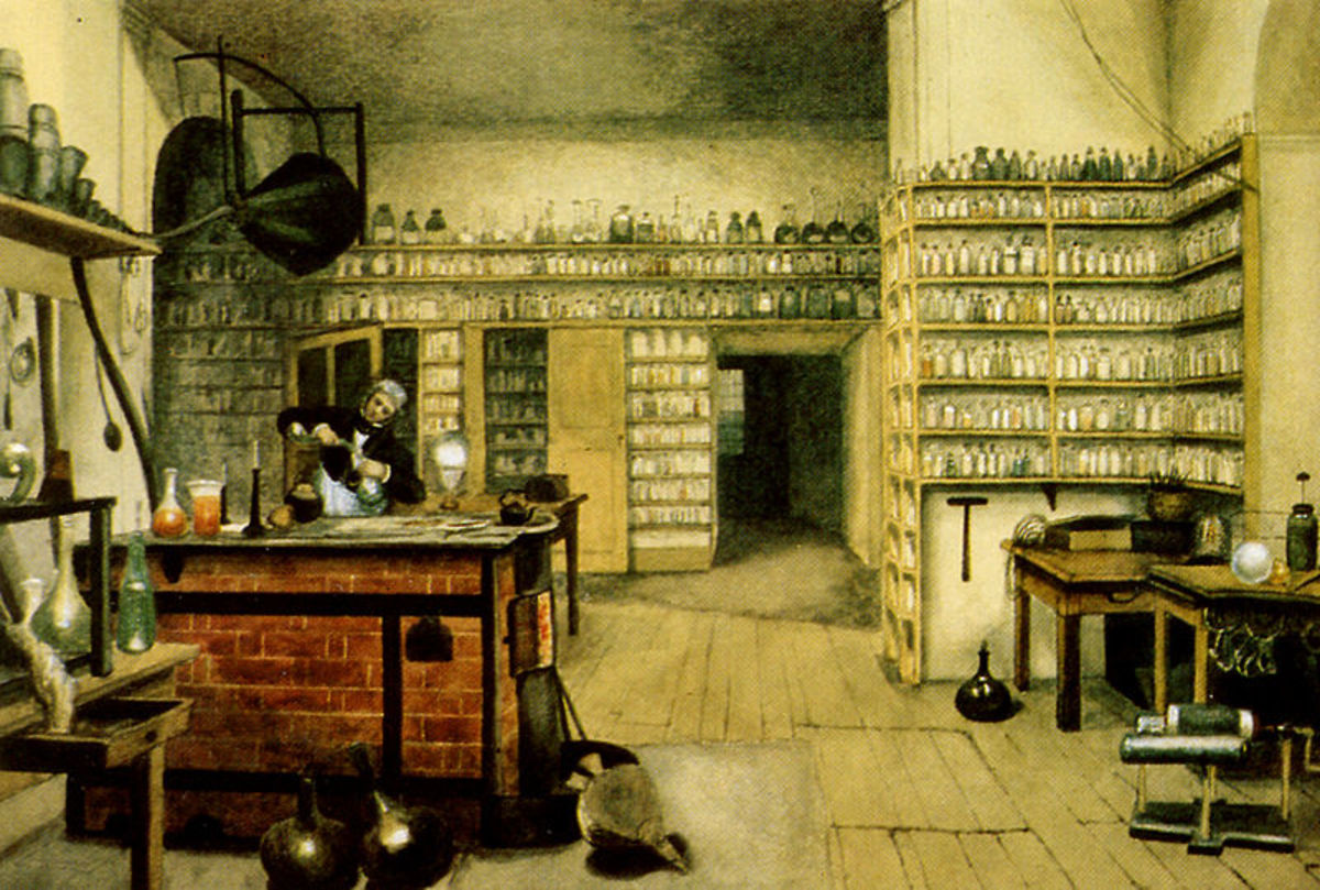 Michael Faraday in his laboratory at the Royal Institution. From a painting by Harriet Moore.