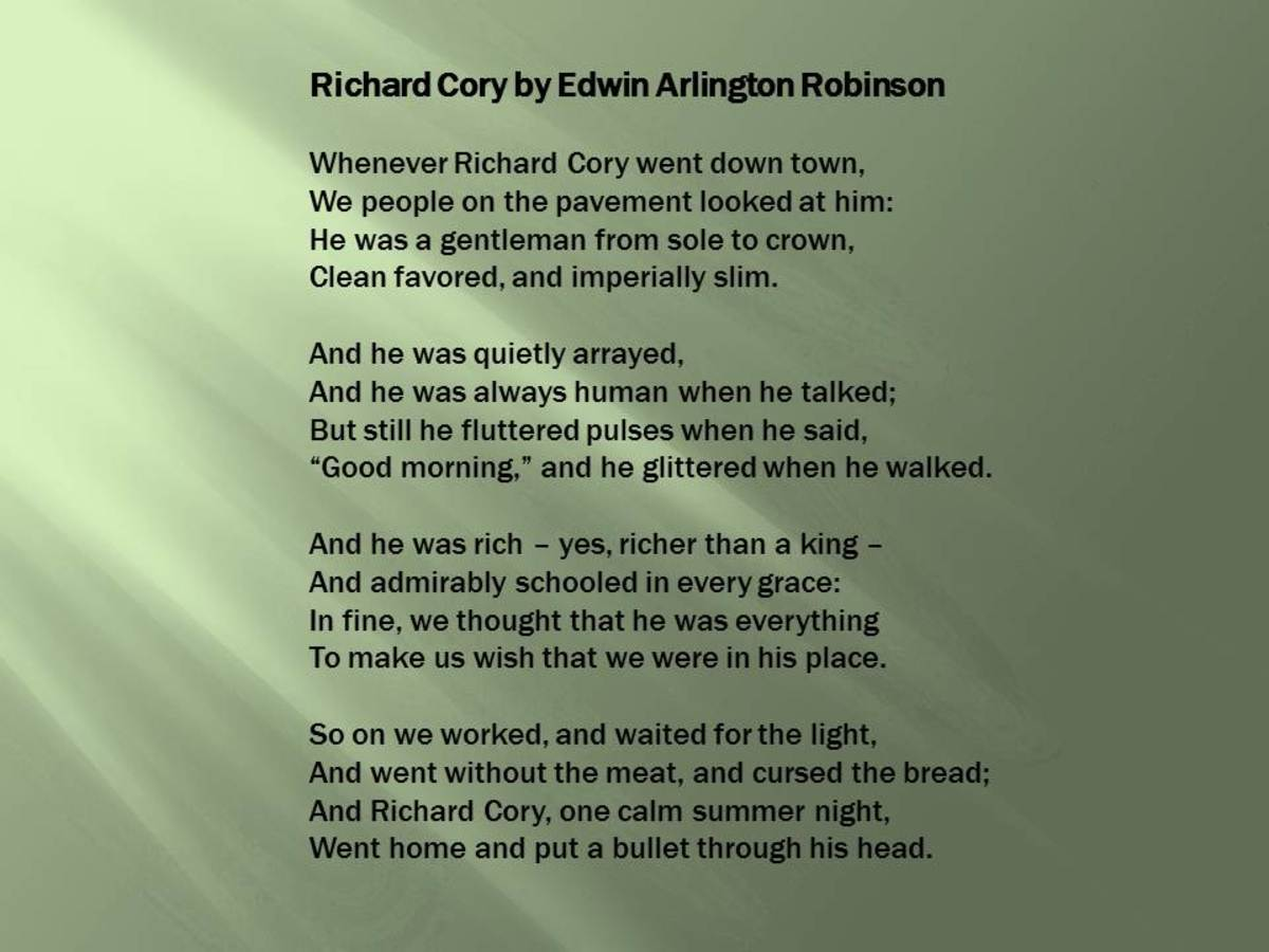 an in depth analysis of the poem richard cory Summarize robert frost's poem 'the road not taken' cheevy and richard cory: poem summaries & analysis 6:33 poetry analysis: the road not taken.