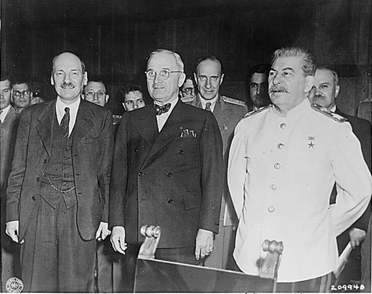 Truman stands beside his nemesis, Joseph Stalin, at the Potsdam conference.