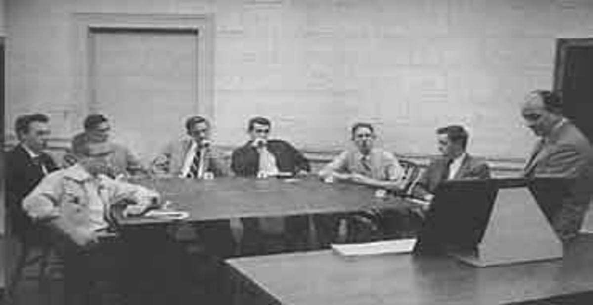 A photograph of one of the trials of Asch's Conformity Experiment.