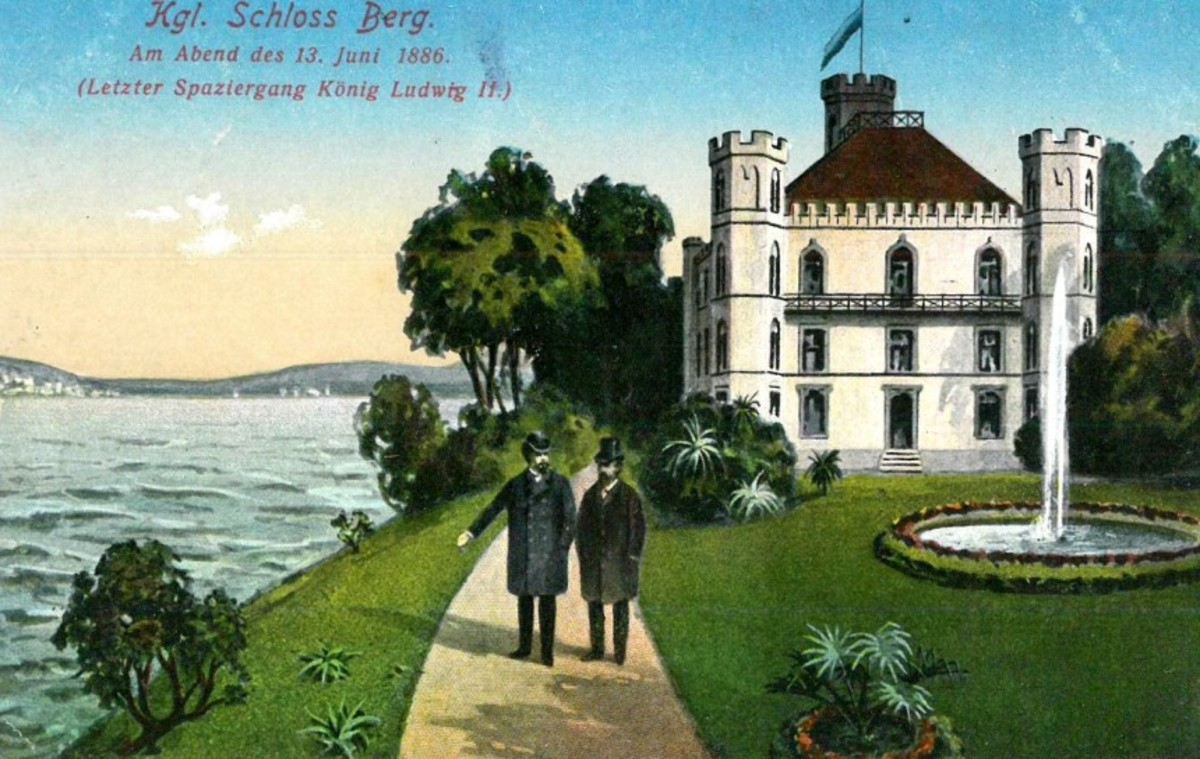 "The text of this postcard translates to ""Castle Berg: On evening of the 13 June 1886 (Last walk of King Ludwig II)"