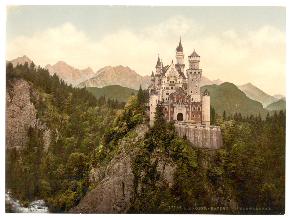 Ludwig II was responsible for Neuschwanstein, widely believed to have inspired Walt Disney's depiction of Palaces. This is a photochrom print of the palace dating from between 1890 and 1905.