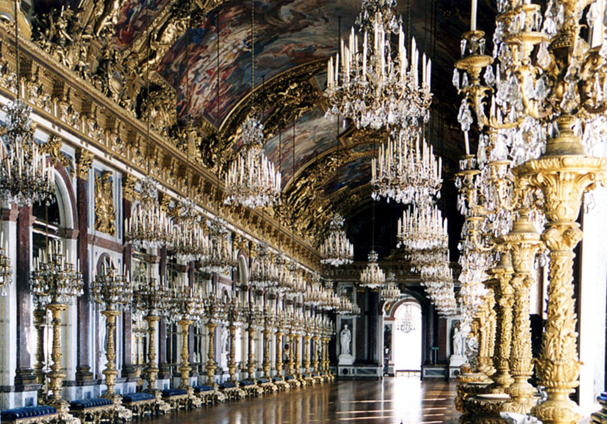 Ludwig's Hall of Mirrors in Schloss Linderhof was modeled on one of the most famous rooms in the Palace of Versailles.