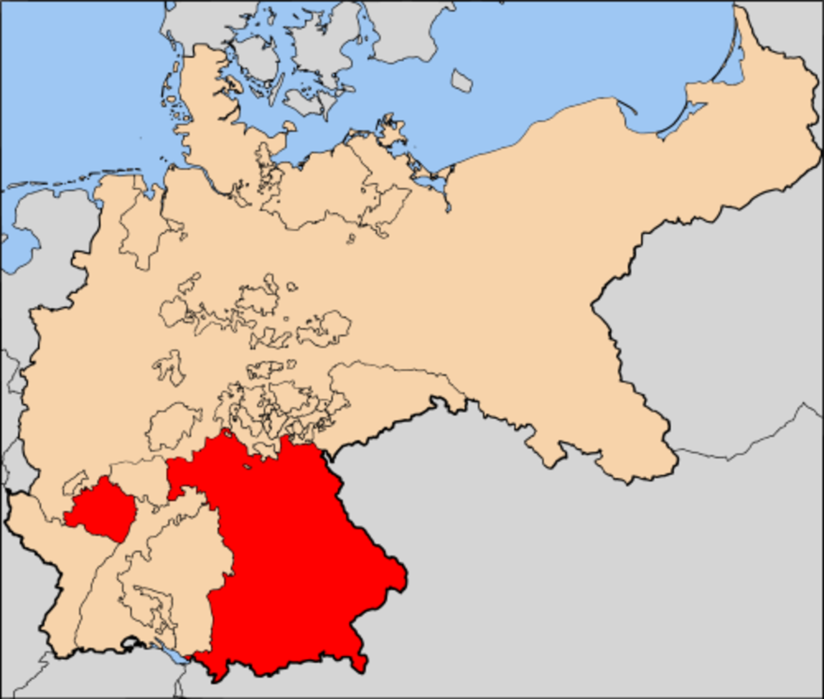 Map showing the nineteenth century Kingdom of Bavaria.