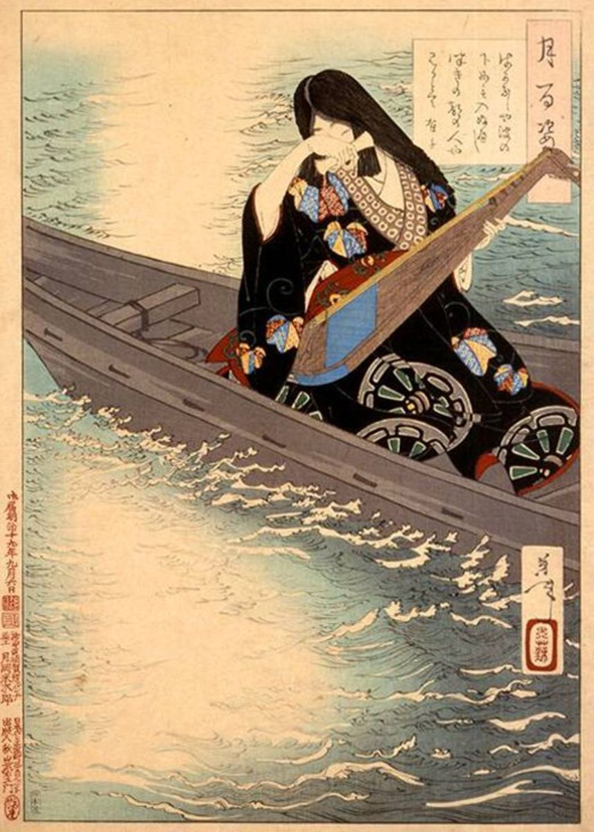 This Meiji Era print depicts Lady Ariko-no-Naishi, a Heian maiden, playing her instrument and weeping over an unrequited lover.