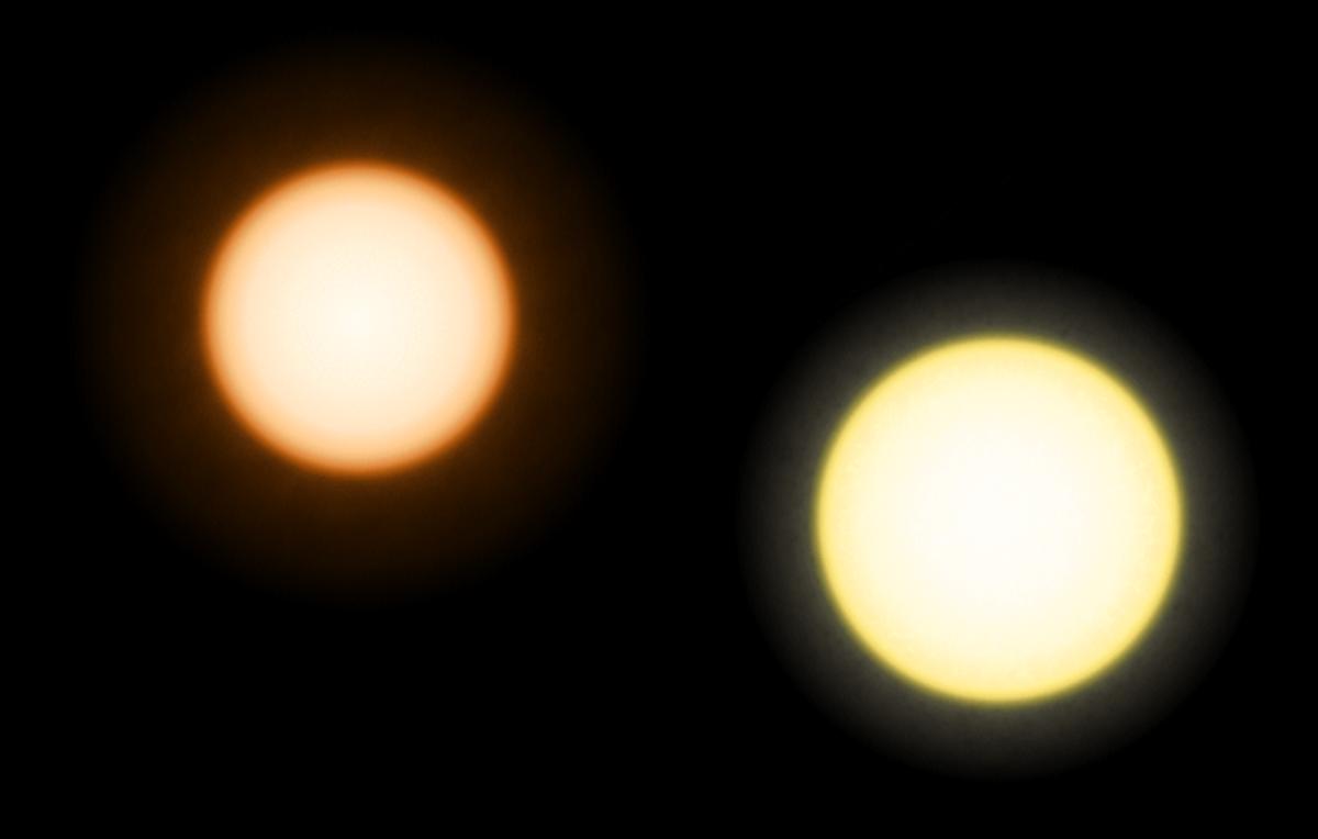 An orange dwarf called Epsilon Eridani (left) is shown next to our Sun in this illustration.