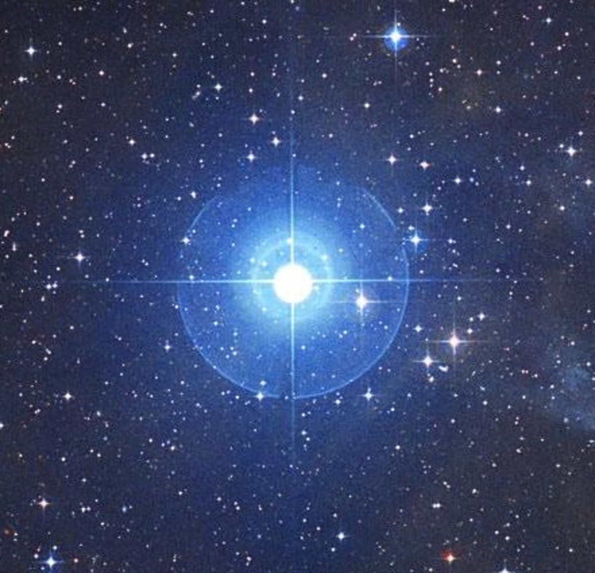 A close-up of the blue giant star, Rigel. It is 78 times larger than the Sun.