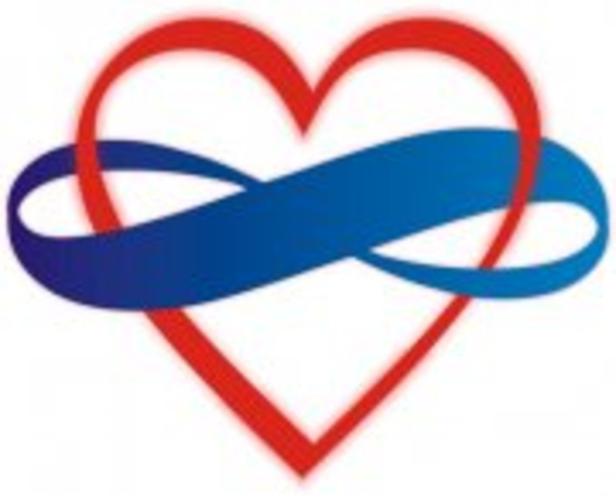 This symbol is common in the polyamory community. An infinity sign wraps around a heart to symbolize endless love. The infinity sign is blue to symbolize loyalty and it is often it is on a black background to symbolize solidarity.