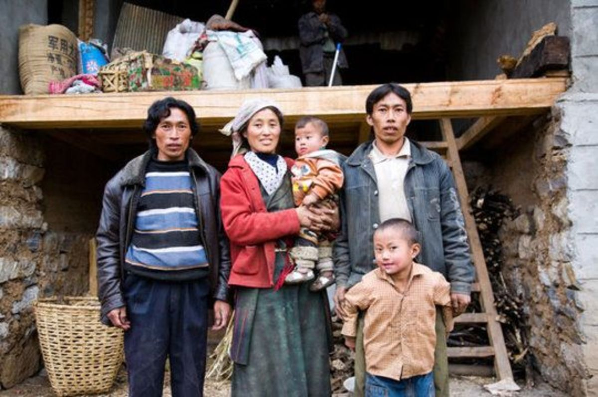 A polyandrous (one wife - several husbands) family in Tibet.