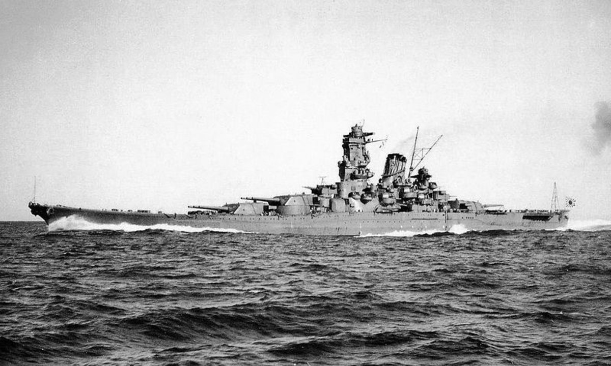 World War Two: Imperial Japanese Battleship Yamato. 65,000 tons; 9x18.1-in guns; 12x6.1-in guns; 12x5-in guns.