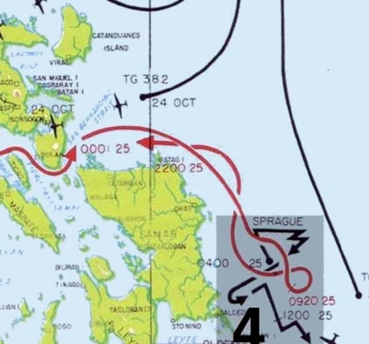 WW2: Simple map showing where the Japanese force (red) broke through San Barnadino Strait, rounded Samar Island and attacked Sprague's Taffy 3 on October 25, 1944.