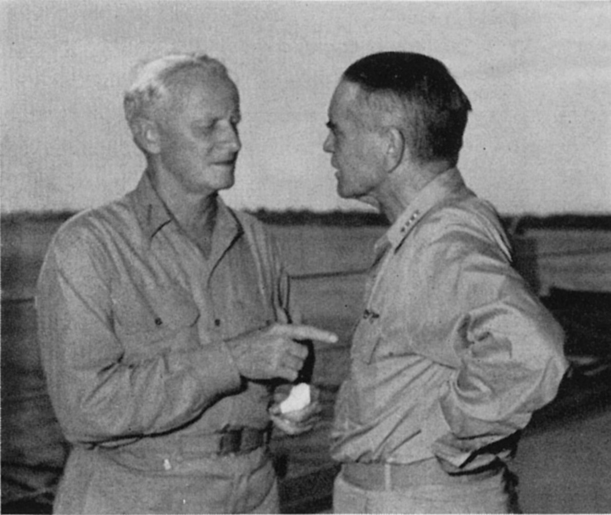 WW2: US Admirals Chester Nimitz (left) and William Halsey