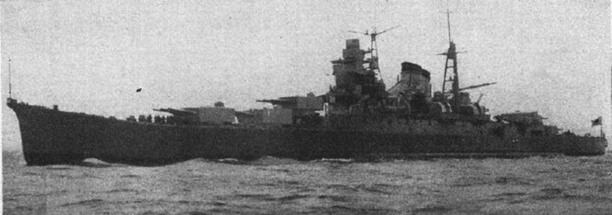 World War Two: Japanese heavy cruiser Kumano. Image used for identification of ships.