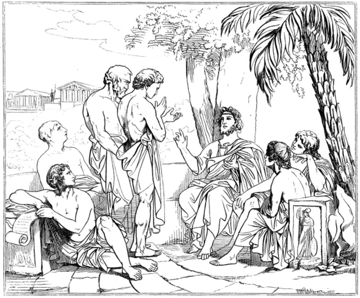 Plato surrounded by young men in his Academy