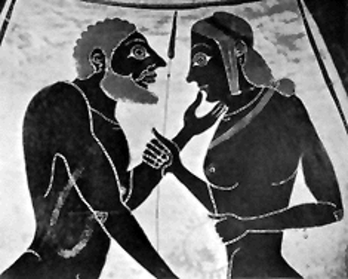 Detail from a Greek vase showing two men