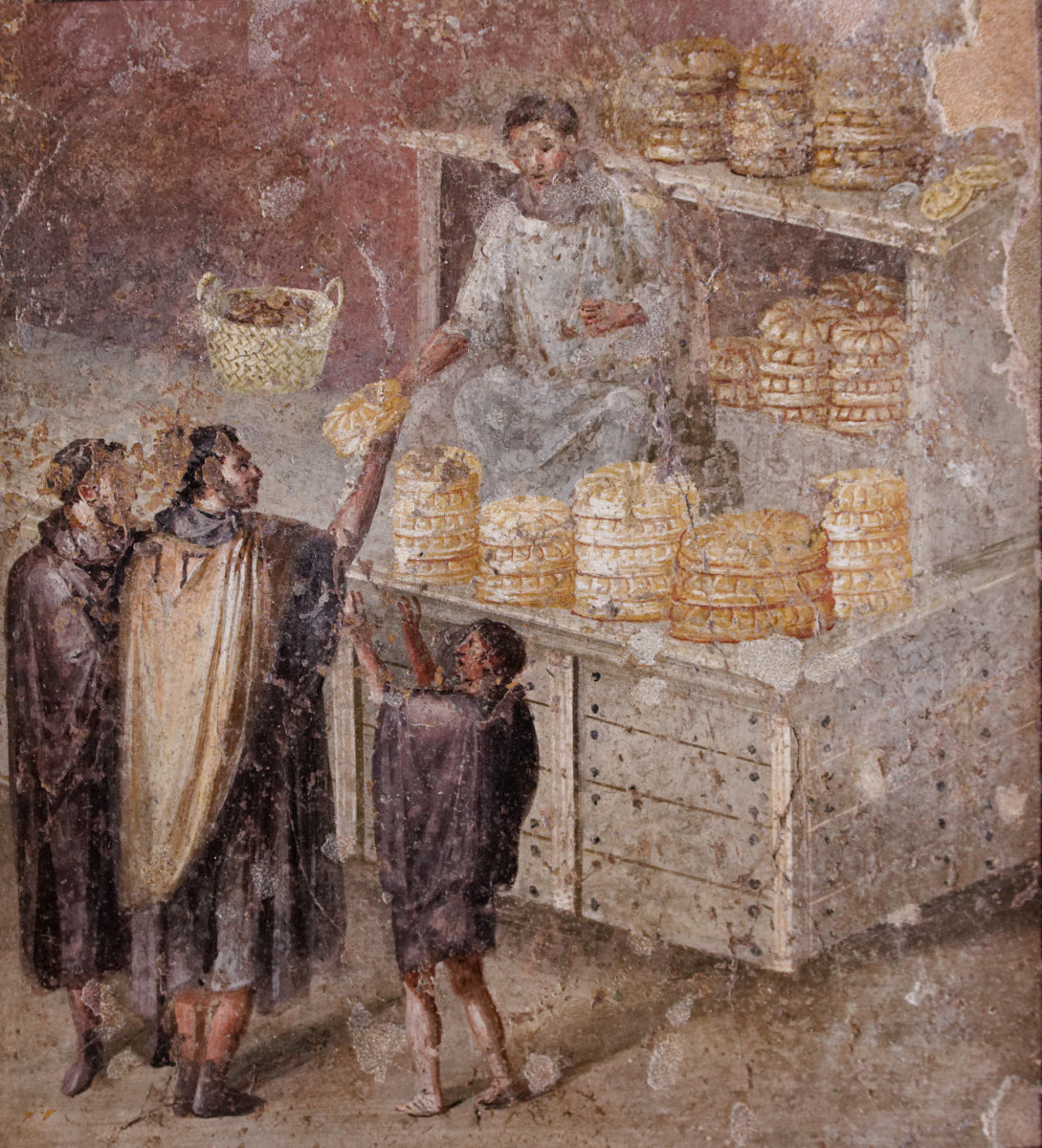 A Roman fresco of a bread shop from the House of the Baker in Pompeii.