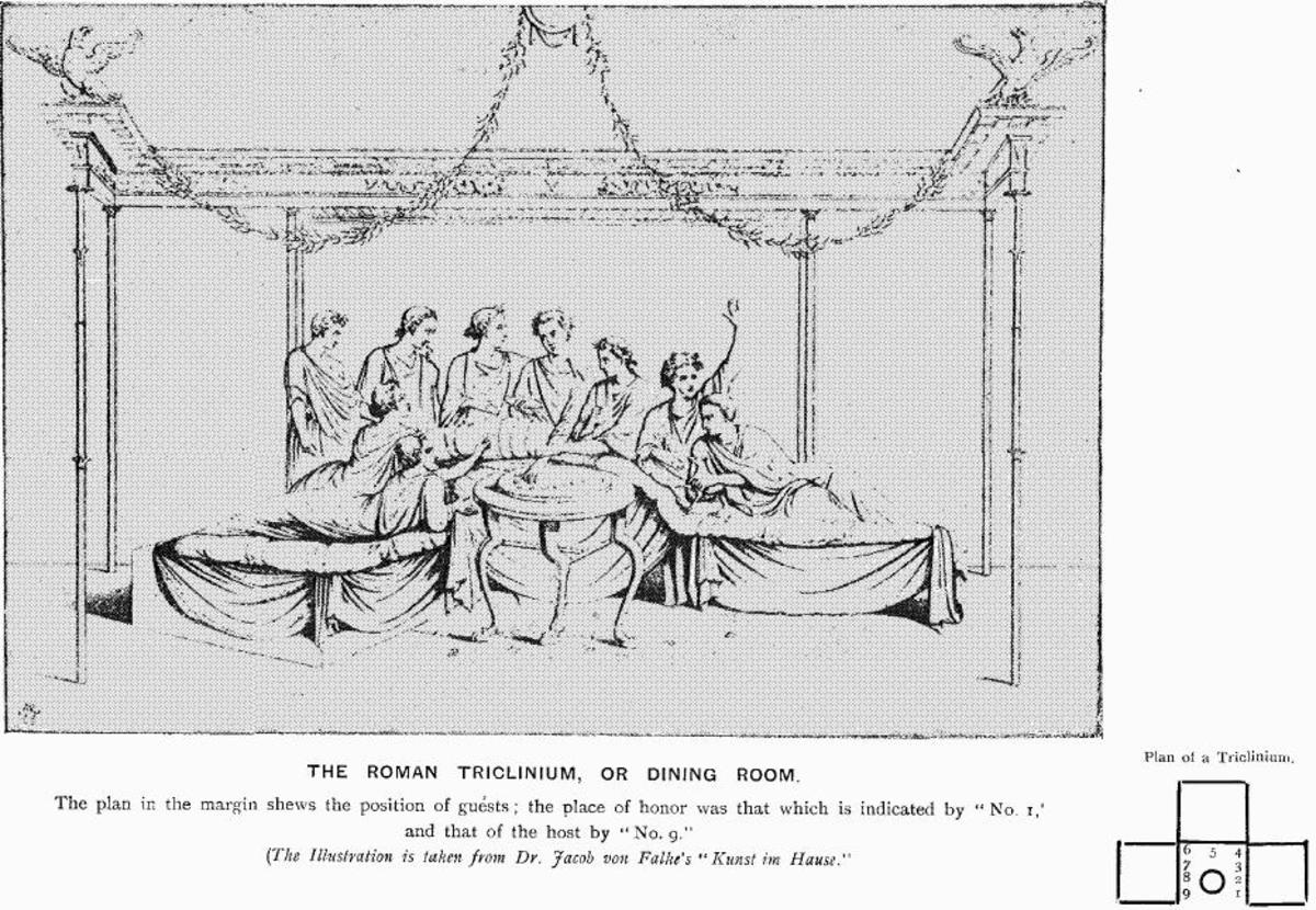 "The setup of a traditional Roman dining room. Men reclined to eat and women sat up in straight-backed chairs. From ""Illustrated History of Furniture, From the Earliest to the Present Time"" by Frederick Litchfield, 1893."