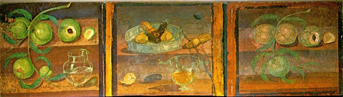 A Roman fresco depicting fruit from the House of the Deer in Herculaneum.