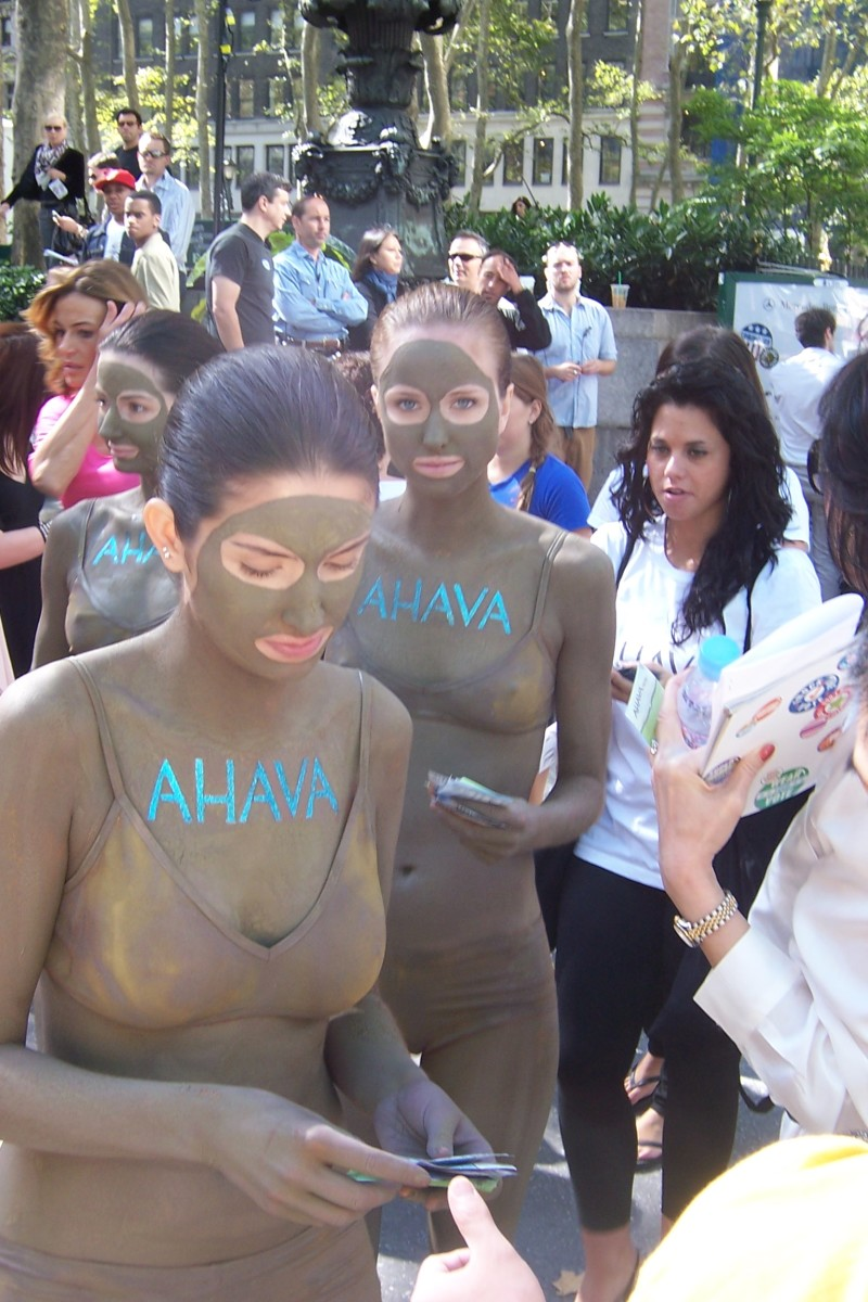 An Ahava promotion during New York City Fashion Week where the models are slathered in Dead Sea Mud.