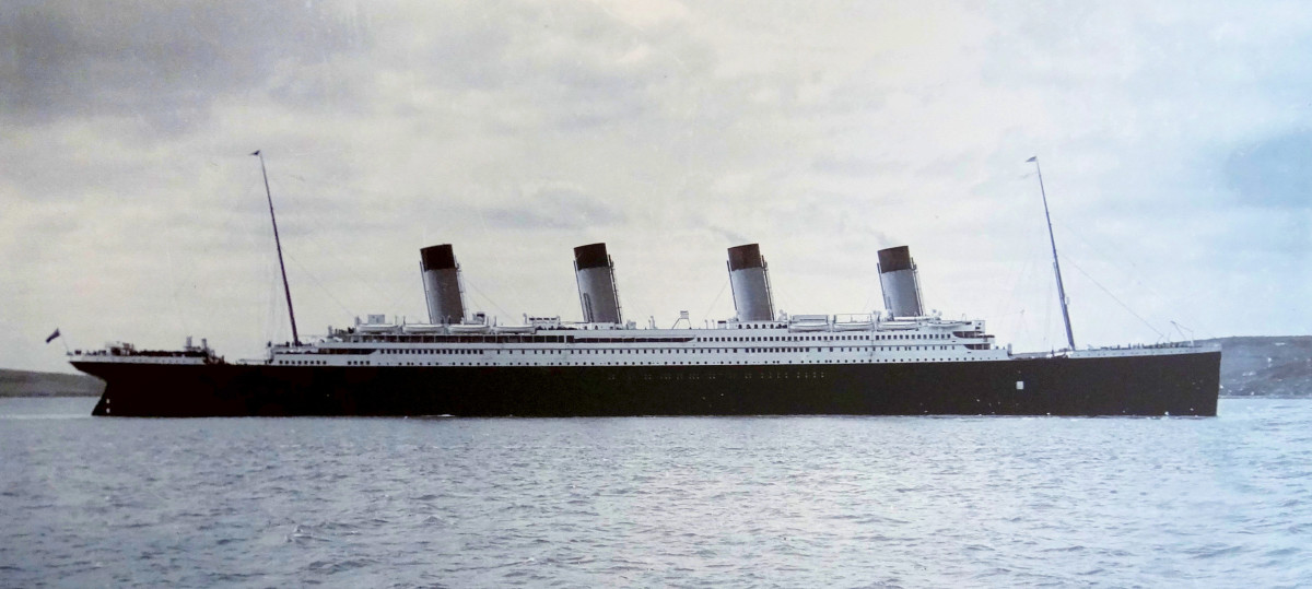 Titanic in Cork harbour, 11 April 1912.  The ship's four funnels can clearly be seen.  Only three of them were functional, however, with the fourth there mainly for show.