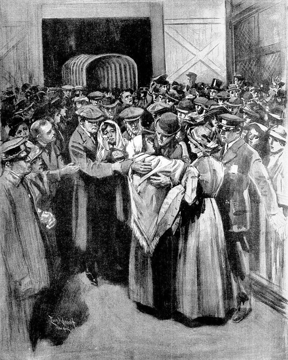 An artist's impression by Boston Globe's L.F. Grant showing the arrival of Titanic's survivors at New York.   The survivors included Violet Jessop who came through  the sinkings of both Titanic and Britannic plus being on Olympic when she was rammed.
