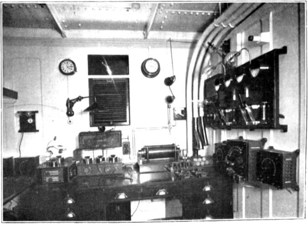 Marconi company receiving equipment for a 5 kilowatt ocean liner station.  Marconi supplied the ship's radiotelegraph equipment, as well as two staff to operate it: Jack Phillips and Harold Bride.