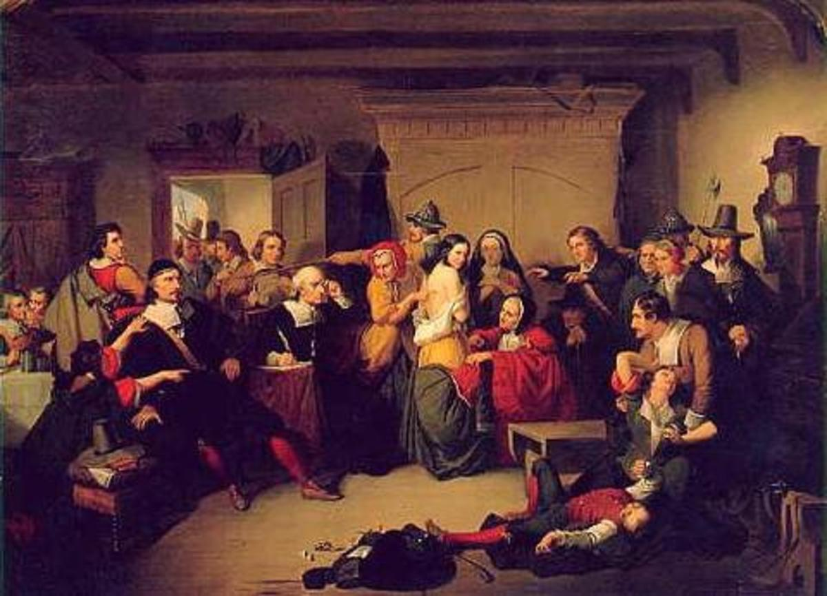 """Examination of a Witch"" T.H. Matteson 1853 depicting Salem Witch Trials"