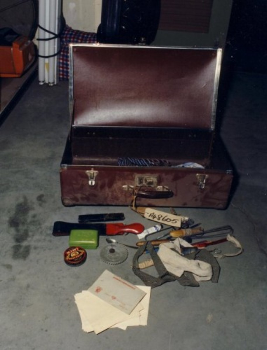 Photo of the suitcase and its contents.