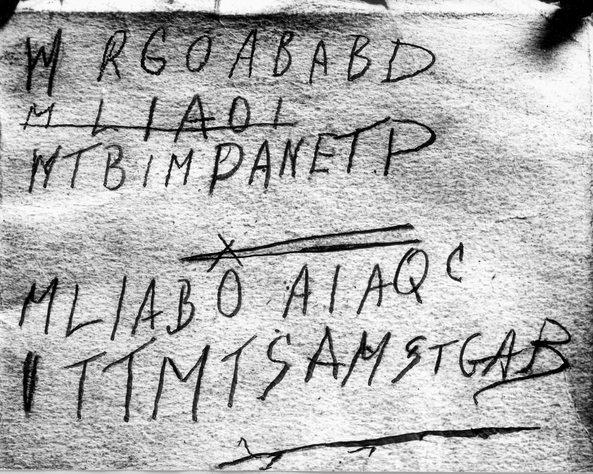 This is a police scan of the handwritten code found in the back of a copy of The Rubiayat of Omar Khayyam, believed to belong to the dead man, found in the back of a car in Glenelg, 1 December 1948.