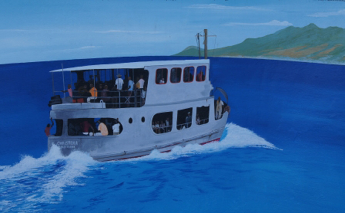 An artist's impression of the MV Christena (artist not named)