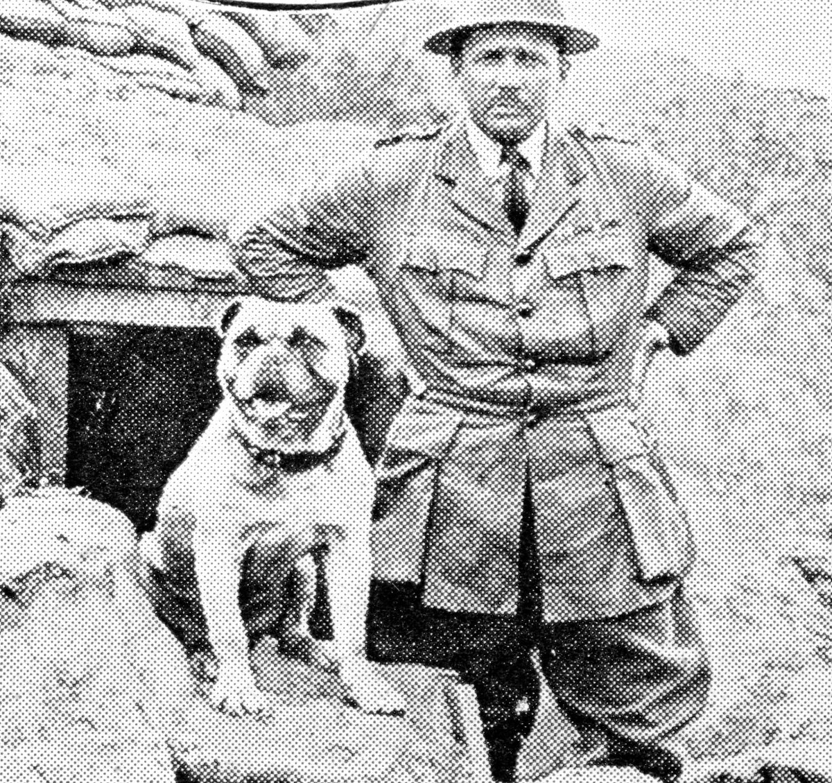 """""""Gibby,"""" the mascot of a Canadian regiment, and his C.O. The dog had been gassed twice, but still went into action."""