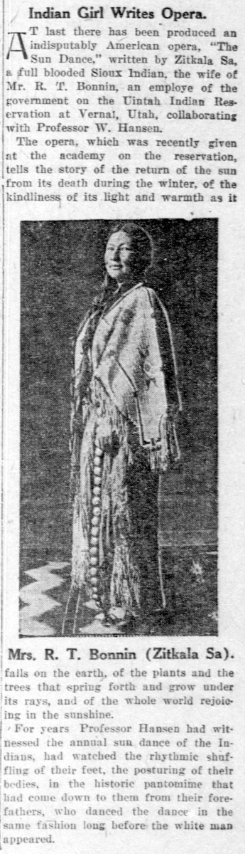 Contemporary 1913 newspaper article about The Sun Dance opera, written by Zitkala-Sa.